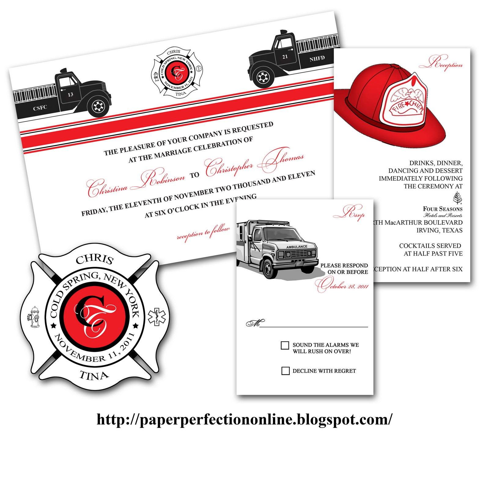 Firefighter Wedding Themes Ideas: Paper Perfection: Tina's Fire Fighter Wedding Invitation