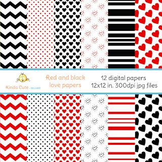 Red and black love papers