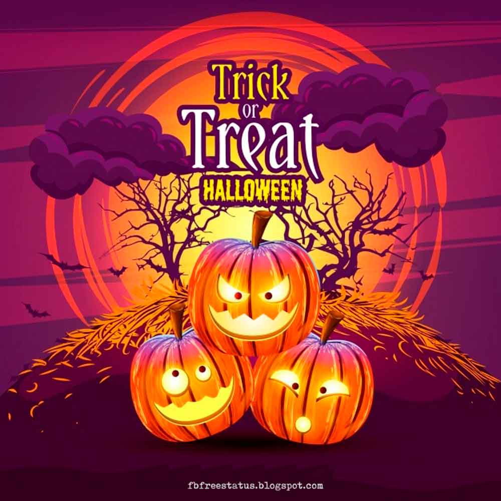 pumpkin background with trick treat messages quotes, Halloween Pictures, Halloween Images.