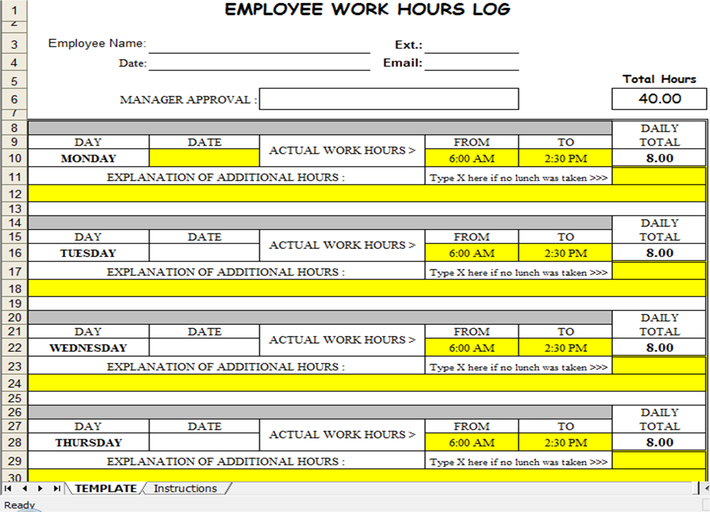 Excel Spreadsheets Help: Employee Timesheet Spreadsheet Template