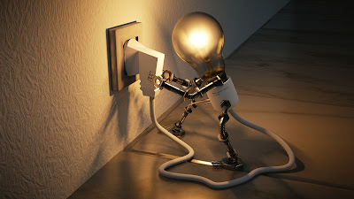 a lightbulb with arms and legs, plugging itself in to a power source