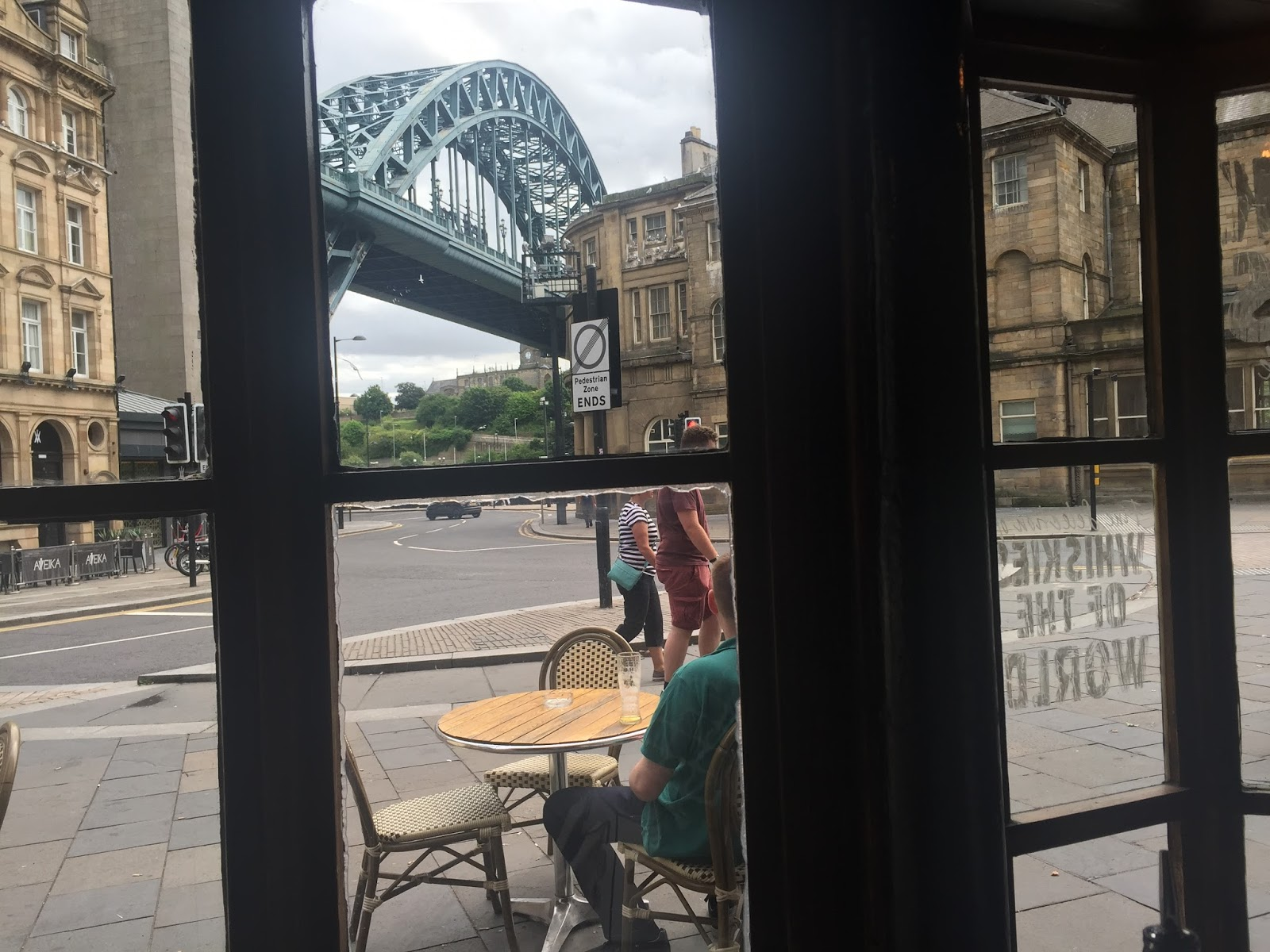 View of Tyne Bridge from the Redhouse on Newcastle Quayside