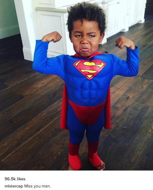 Wiz Khalifa shares photo of his son Sebastian in Superman costume