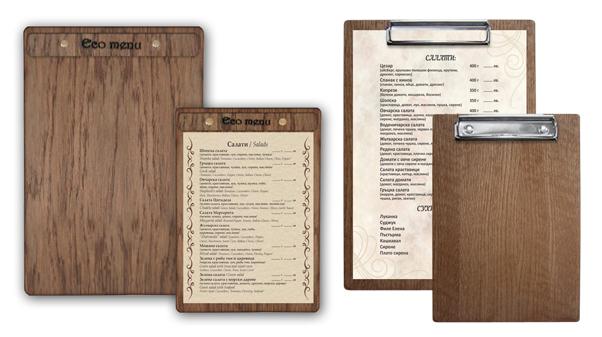 дървени дъски клипбордове за менюта, дървени менюта, обедно миню, меню за маса