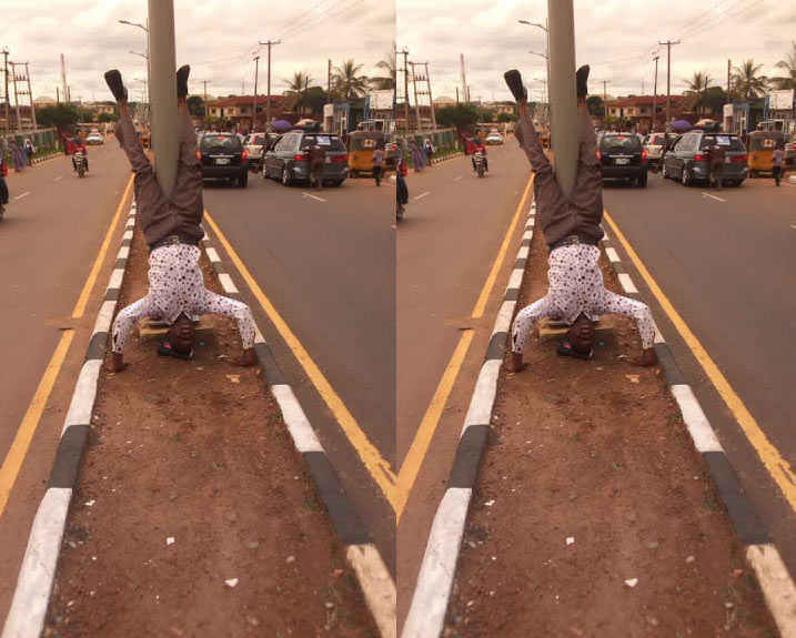 Church goer dazzles passersby in Lagos with his superb photo-posing skills
