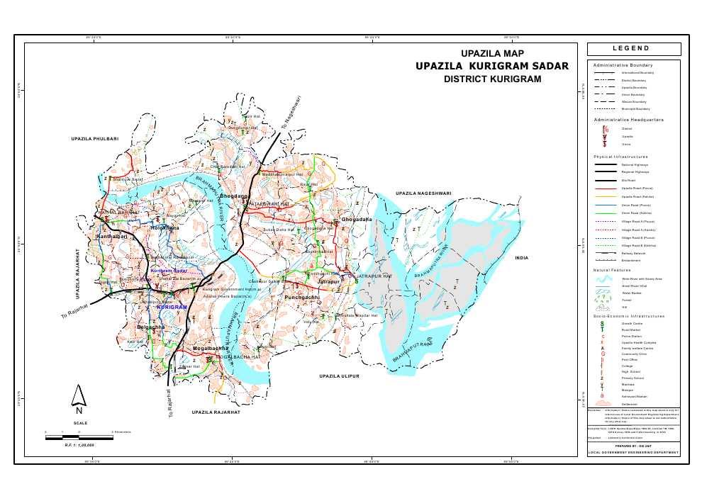 Kurigram Sadar Upazila Map Kurigram District Bangladesh