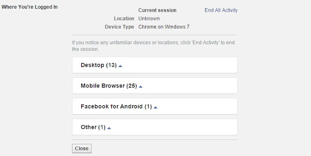 Facebook Active Sessions