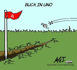 golf, ryder cup, terremotati, fondi pubblici, satira, vignetta