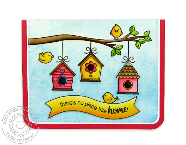 Sunny Studio Stamps A Bird's Life There's No Place Like Home Birdhouse Card by Mendi Yoshikawa