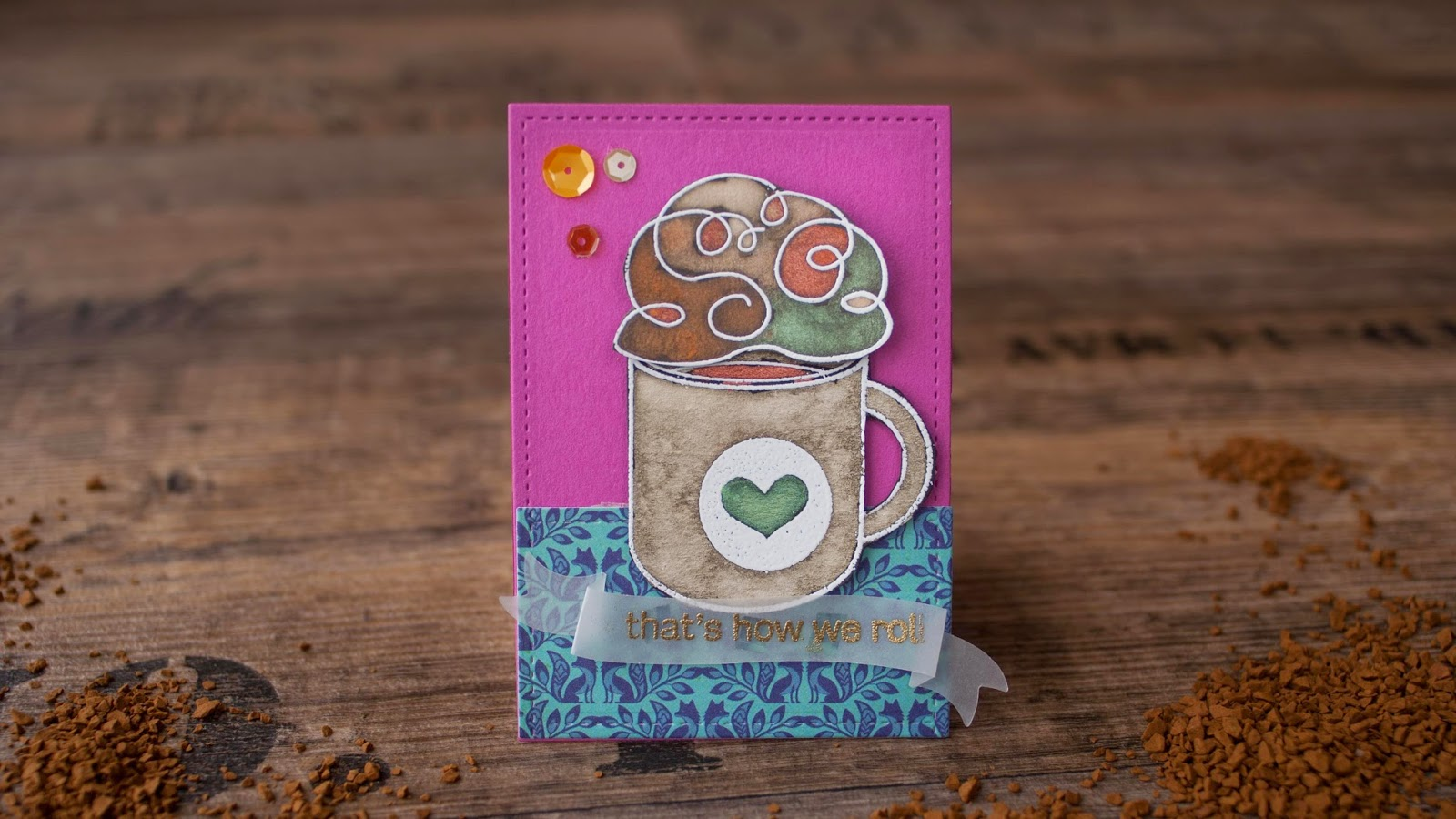 SSS october card kit - hot chocolate with perfect pearls invitation - pink background