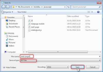 Cara menyimpan file berbentuk .js dengan notepad