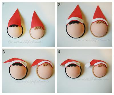 Estos son los pasos para hacer los gorros navideños de las bolas de goma eva mi 1ª navidad