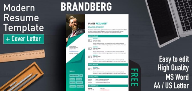 Contoh CV template Word yang kedua adalah Brandberg