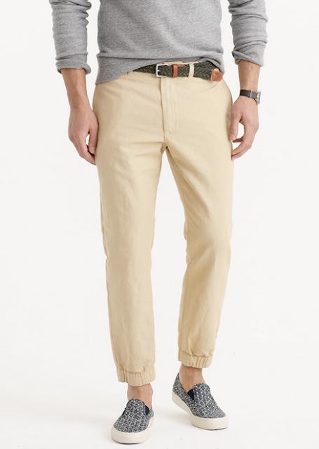 Sahara Khaki Cotton/Linen Blend Jogger Pants