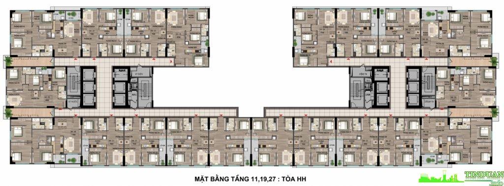 Mặt bằng điển hình tòa HH chung cư Bộ Công An Cổ Nhuế 2