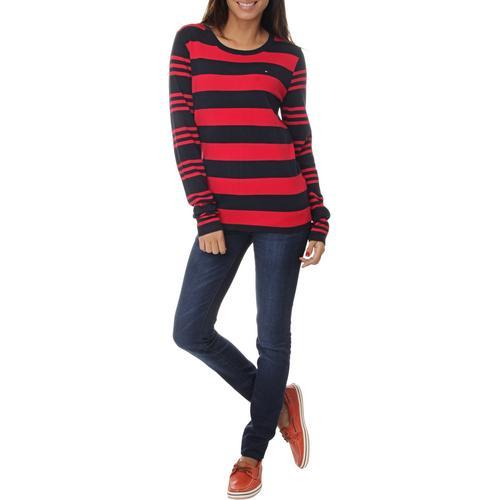 Suéter em Tricô Tommy Hilfiger Ivy Stripes - Vermelho / Azul Escuro / Listras