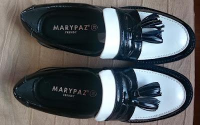 Haul Marypaz Black Friday mocasin negro y blanco con suela ancha
