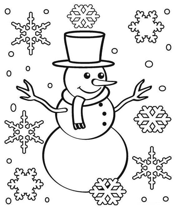 Tranh tô màu người tuyết và bông tuyết