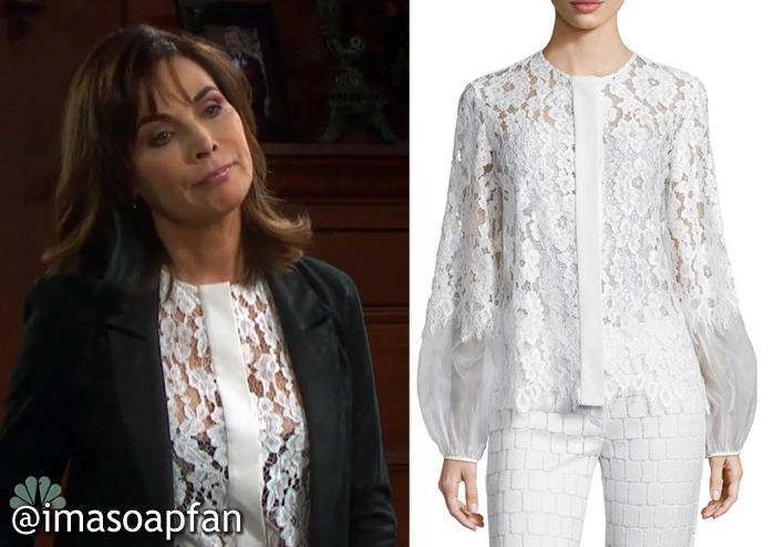 Kate Roberts's White Lace Shirt - Days of Our Lives, Season 51, Episode 10/06/16