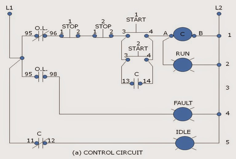 TWO STATION MOTOR CONTROL ~ Electrical Motor Control Wirings