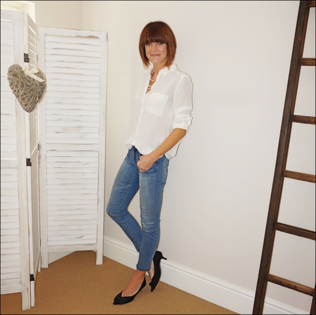 my midlife fashion, the white company silk blouse, pearl necklace, j crew 8 stretchy toothpick jeans, zara mid heel shoes with bow