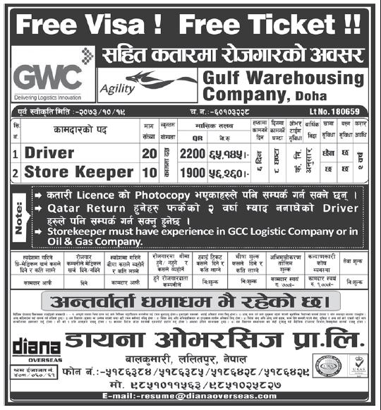 Free Visa Free Ticket Jobs in Doha, Qatar for Nepali, Salary Rs 65,145