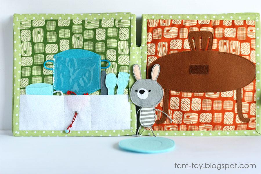 Bunny day quiet busy book for children, pretend play, развивающая книжка день зайчика, кухня, столовая