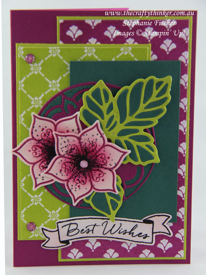 Floral card, Paper-piecing, Sneak Peek, Eastern Beauty Bundle, In-Colours, #thecraftythinker, Stampin Up Australia Demonstrator, Stephanie Fischer, Sydney NSW