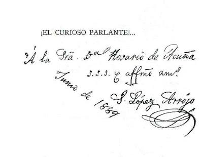Dedicatoria que aparece en el libro El curiosos parlante que se conserva en la Biblioteca Jovellanos de Gijón