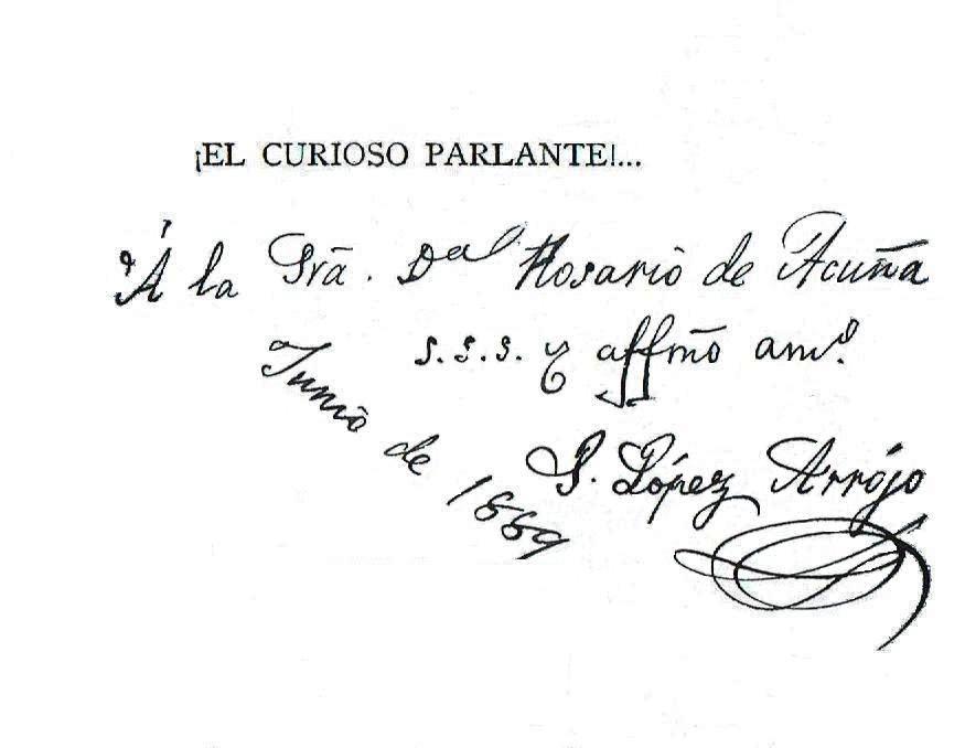 Dedicatoria en un libro que fue de doña Rosario y que hoy se encuentra en la Biblioteca Pública Jovellanos de Gijón
