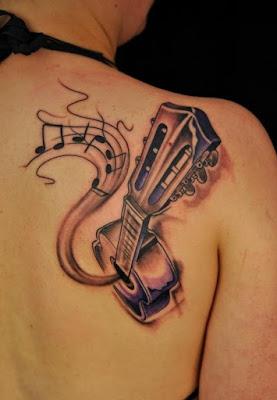 تصاميم الوشم الموسيقى لعشاق الموسيقى