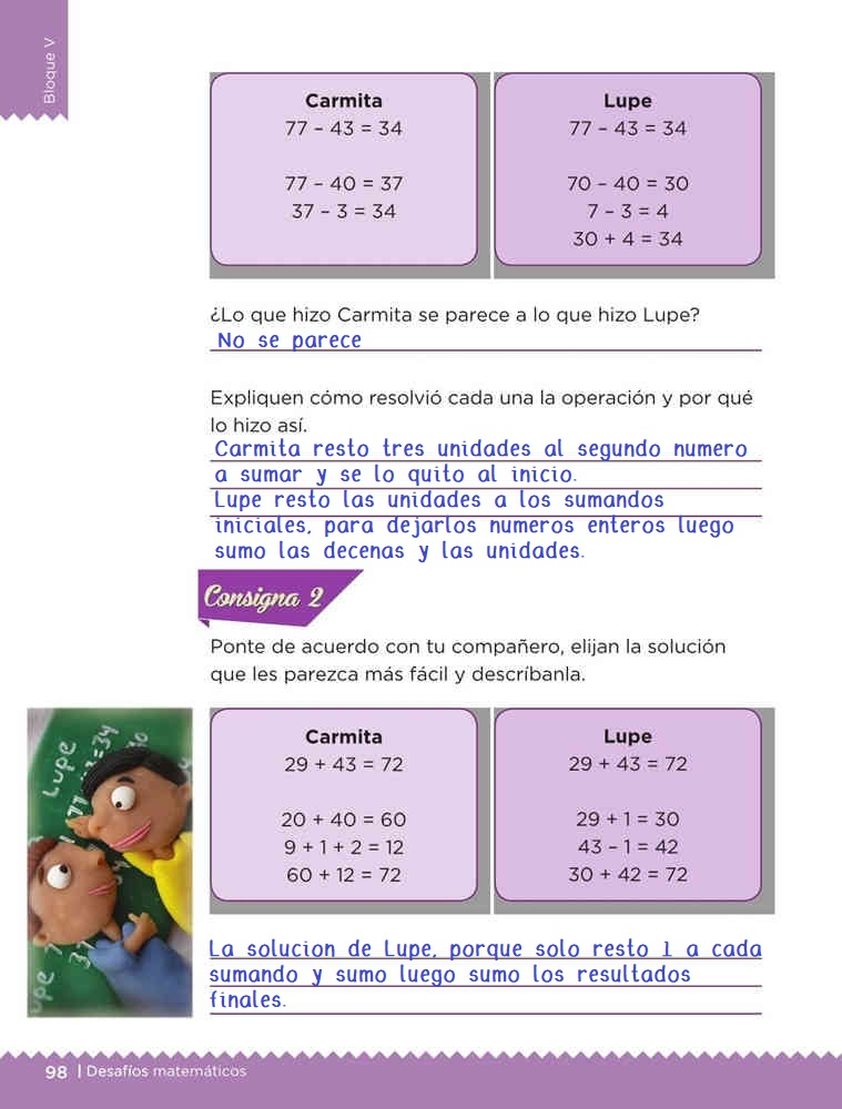 Libro de textoDesafíos MatemáticosLas cuentas de CarmitaPrimer gradoContestado