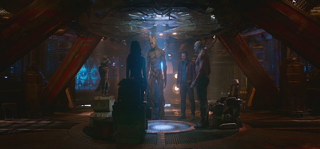 Chriss Pratt, Zoe Saldana, Vin Diesel, Bradley Cooper, Dave Bautista in Guardians of the Galaxy