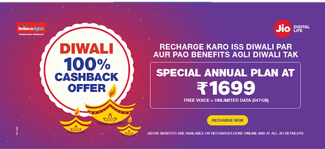 New Jio best plan ever, 1 Year plan Rs. 1,699 on Recharge with 1.5GB Data per Day, Free calls and 100 SMS per day