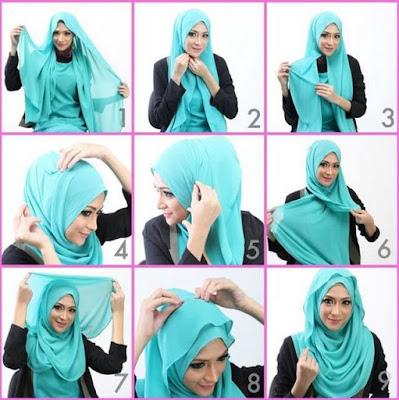 Cara memakai jilbab pashmina baru