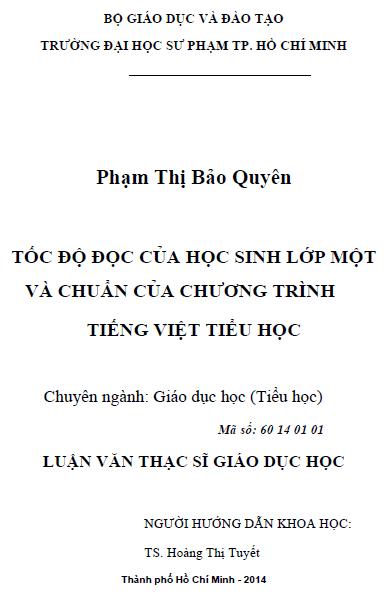 Tốc độ đọc của học sinh lớp Một và Chuẩn của chương trình Tiếng Việt Tiểu học