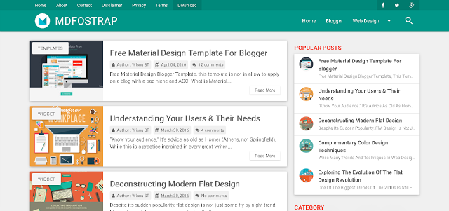 MDFostrap Responsive Free Material Design Blogger Template Warna Teal