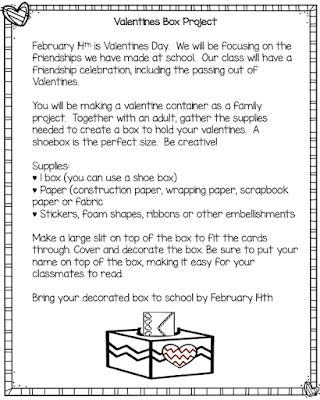 Free Valentines Box Project Letter,  This is a fun family involvment pojrct for Valentines Day.  Families work together to crate a Valentines day box. for their child.  The boxes are easy and fun to create.  The directions are in English and Spanish.