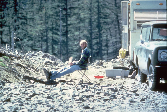 Photo by Harry Glicken of David A. Johnston 13 hours before the eruption of Mount St. Helens