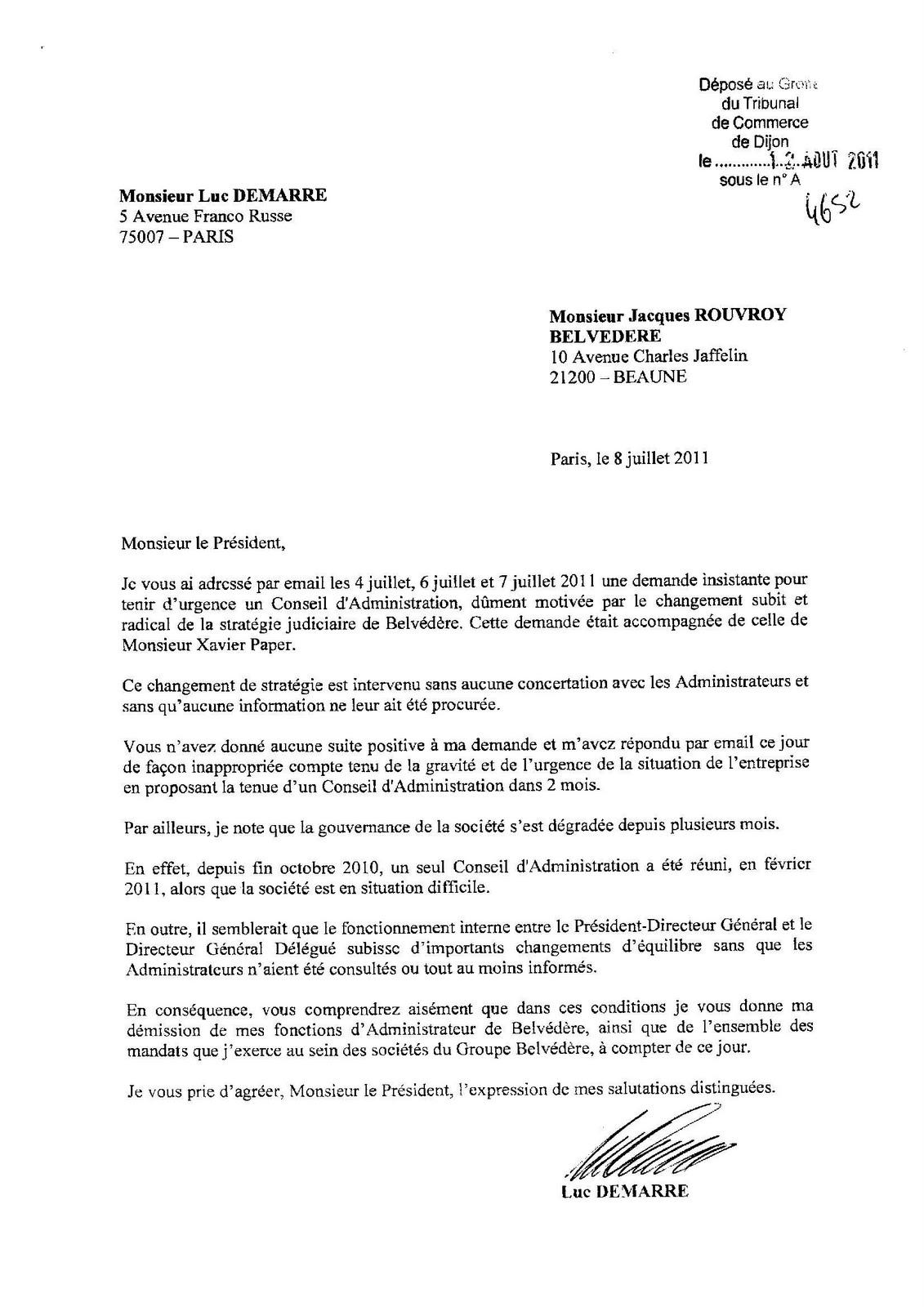 lettre de demission comite entreprise Les paipites du web, par Deuxtroy: BVD : la lettre de démission d  lettre de demission comite entreprise