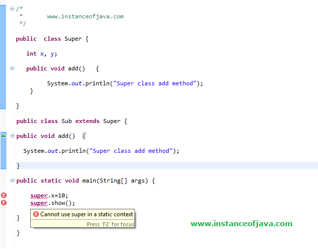 super keyword in java interview example program frehser