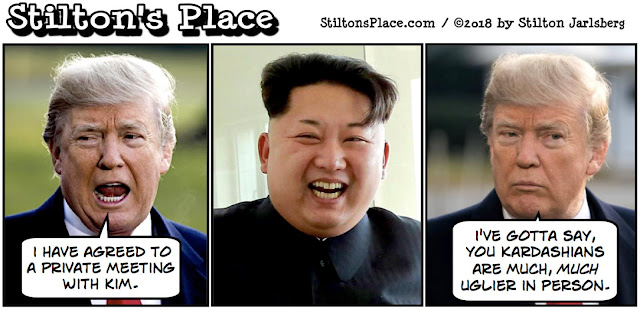 stilton's place, stilton, political, humor, conservative, cartoons, jokes, hope n' change, north korea, kim jung un, meeting, trump
