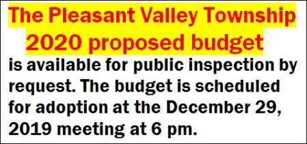 12-29 Pleasant Valley Township Budget Available