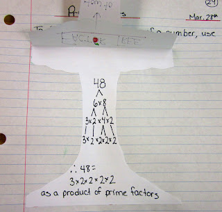 photo of Prime Factorization Factor Tree math journal entry @ Runde's Room