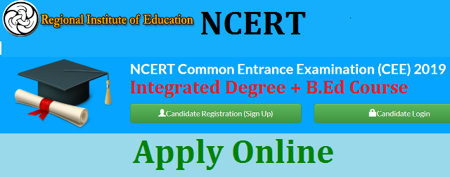 The National Council of Educational Research and Training (NCERT) Applications are invited on-line from the eligible applicants for admission into various Teacher Education programmes, viz. (i) B.Sc.B.Ed. (4-year), (ii) B.A.B.Ed. (4-year), (iii) M.Sc.Ed.  (6-year), (iv) B.Ed. (2-year), (v) M.Ed. (2-year), (vi) B.Ed. M.Ed. (3-year) run under Regional Institutes of Education. The on-line application form is available w.e.f. 12/04/2019 to 12/05/2019 at www.cee.ncert.gov.in. Common Entrance Examination (CEE) will be conducted at various centres across the country on June 9, 2019. For details, visit our URL www.cee.ncert.gov.in.  NCERT is conducting RIE CEE 2019 for the centralized online admission process for the mentioned courses: B.Sc B.Ed., B.A. B.Ed., M.Sc. Ed., B.Ed., M.Ed., B.Ed.-M.Ed.(Integrated). RIE CEE 2019 examination is for RIEs- Ajmer, Bhopal, Mysuru, Shillong, Bhuvaneshwar, PRARAMBH (School of Teacher Education) Jhajjar, Haryana. Also, note that there is no B.Ed. Course in RIE Bhopal for the Academic Year 2019. The exam is likely to be held on June 09, 2019. Candidates will have to fill the RIE CEE 2019 Application Form as the first step of admission in RIE. Candidates interested for admission in RIE can check all the important information regarding RIE CEE 2019  ncert-rie-cee-2019-integrated-bsc-bed-med-common-entrance-exam-eligibility-online-application-hall-tickets-results-download