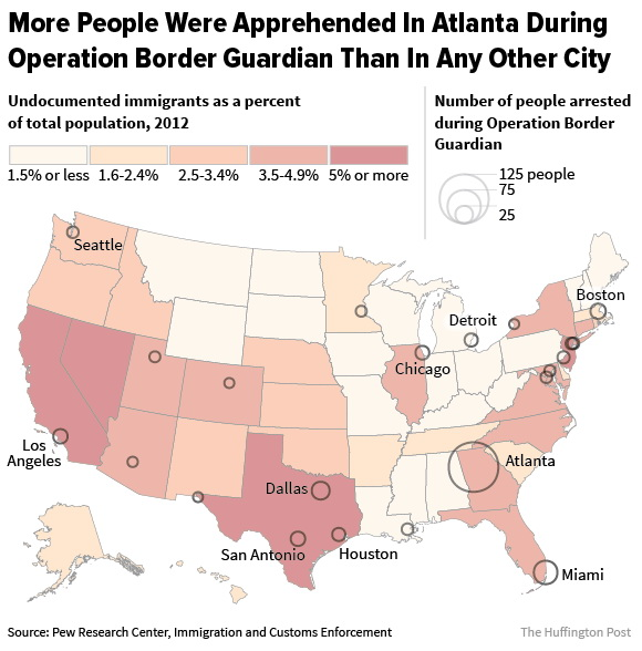 More people were apprehended in Atlanta during operation border guardian than any other city