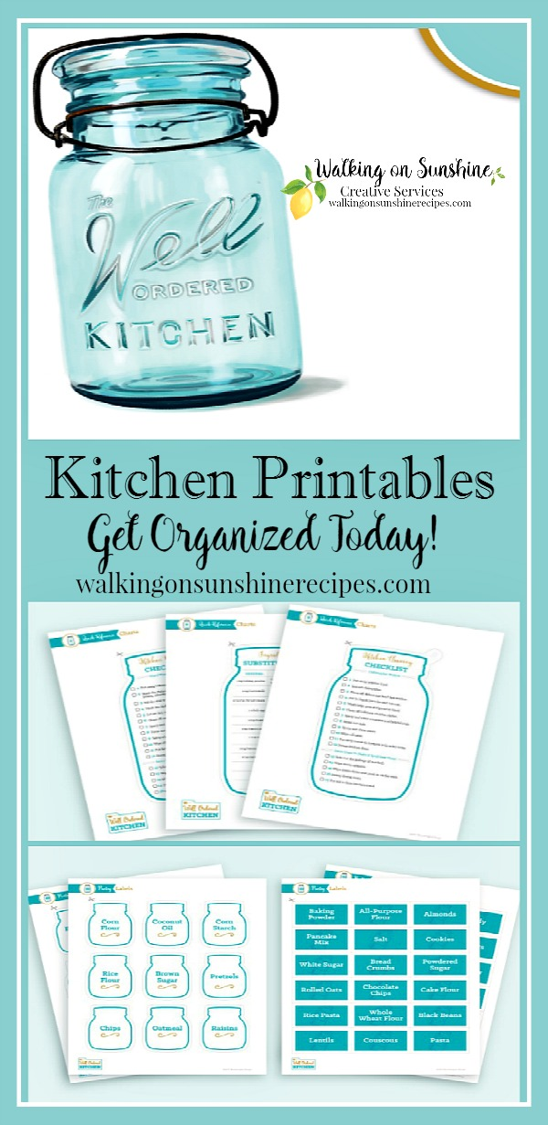 Get organized with Kitchen Printables using The Well Ordered Kitchen Planner featured on Walking on Sunshine.