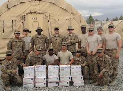 Photos of U.S. military troops with care packages