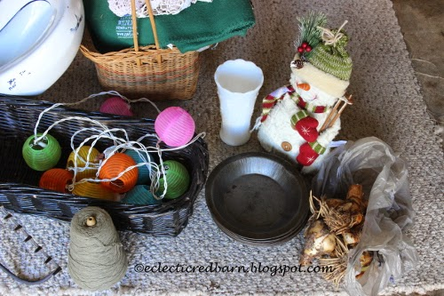 Eclectic Red Barn: flea market finds - baskets, rake, lights