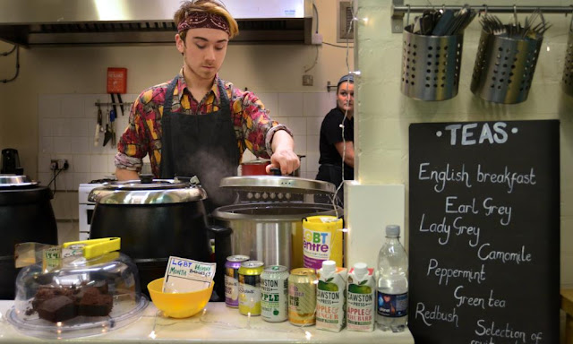 Volunteers serving curry at Sidney Street Cafe